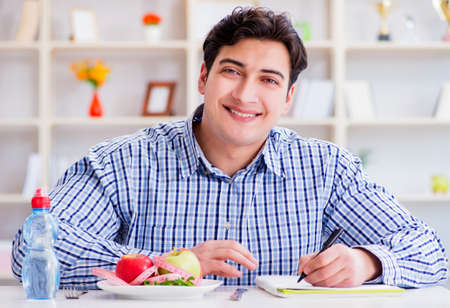 Man on special diet programm to lose weight Stock Photo