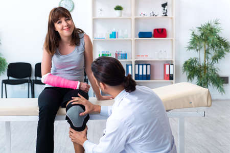 Young woman visiting male doctor traumatologist