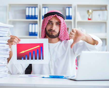 Arab businessman working in the office doing paperwork with