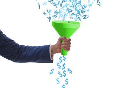 Data monetization concept with the funnel and businessman