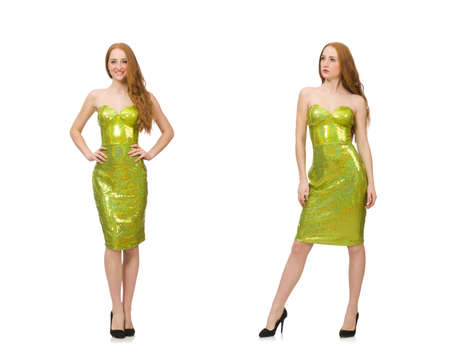 Red hair girl in sparkling green dress isolated on white Stok Fotoğraf