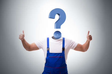 The worker with question mark instead of head