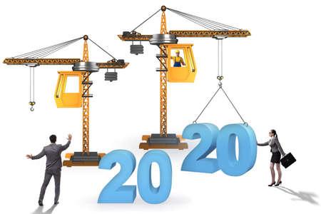Año de elevación de grúa 2020 en concepto de negocio Foto de archivo