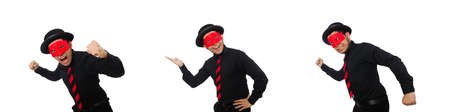Young man with red mask isolated on white Stock Photo