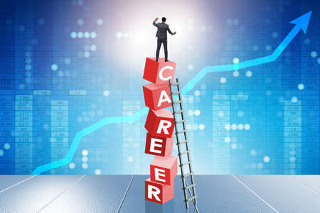 Career concept with businessman on top of blocks