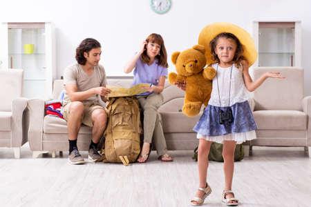 Happy family planning vacation trip Stockfoto