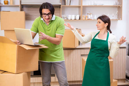 Mother and son moving to new flat
