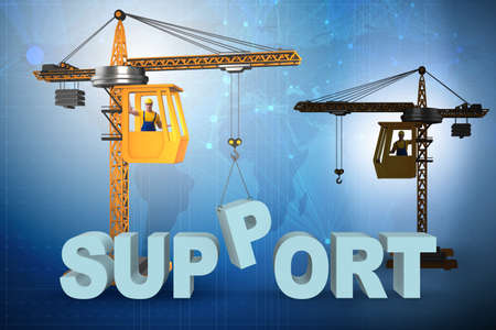 Crane lifting up the word support