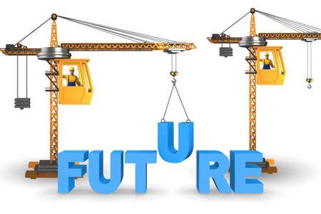 Crane lifting the word future up Imagens