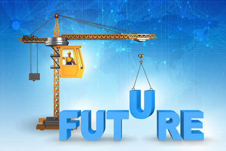 Crane lifting the word future up 스톡 콘텐츠