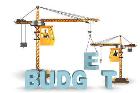 Crane lifting letter in budgeting concept 스톡 콘텐츠
