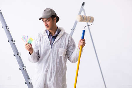 Painter working at construction site