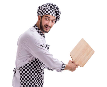 The male cook isolated on the white background