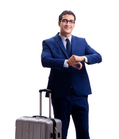 The young businessman with suitcase isolated on white background Zdjęcie Seryjne