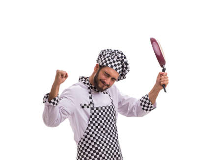 Male cook isolated on the white background Stockfoto