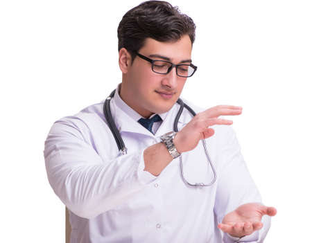 Young male doctor isolated on white background