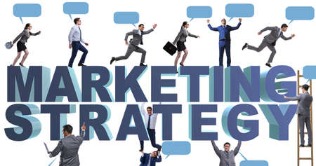 The marketing strategy concept with businessman and team