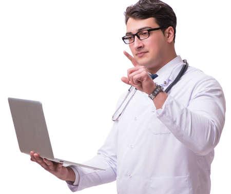 Doctor in telemediine mhealth concept on white Reklamní fotografie