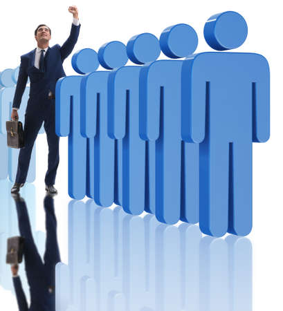 Standing out from crowd concept with businessman