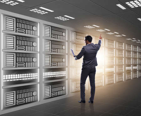 Concept of big data management with businessman Stock Photo - 130812528