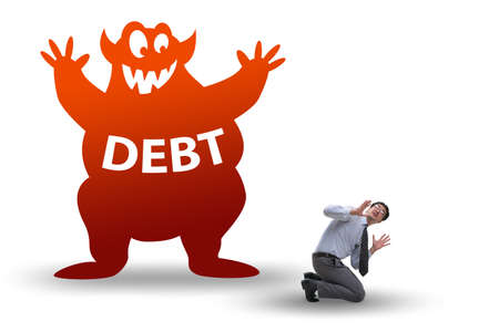 Businessman in debt and loan concept Banque d'images - 130812827