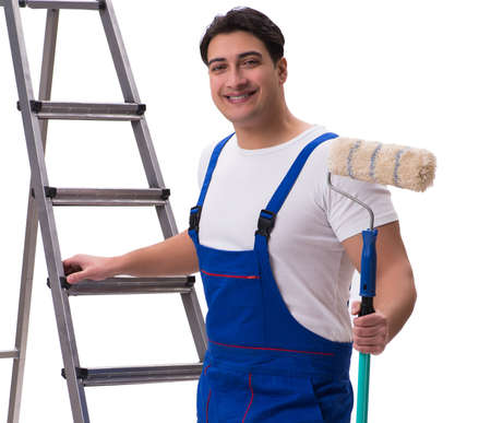 Young painter contractor isolated on white background