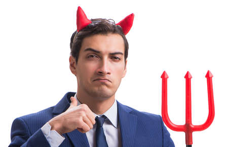 Evil devil businessman with pitchfork isolated on white backgrou 版權商用圖片 - 130813900