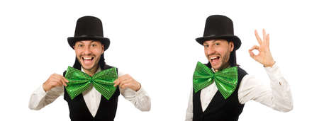 Man with big green bow tie in funny concept 스톡 콘텐츠