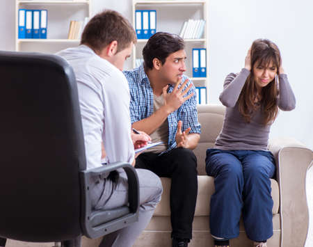 Family visiting psychologist for family problem Stock Photo