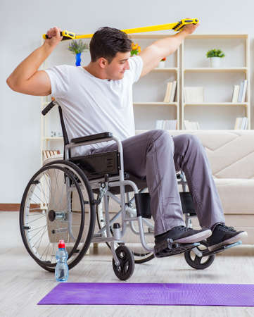 Disabled man recovering from injury at home