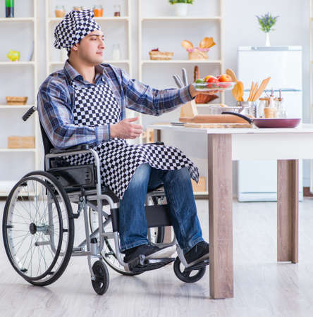 Young disabled husband preparing food salad