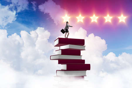 Business education concept with businesswoman and books