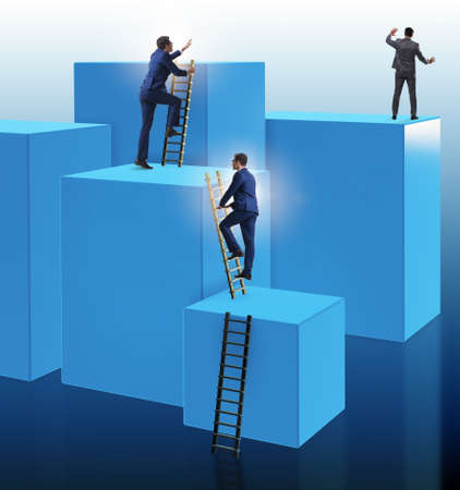 Businessman climbing blocks in challenge business concept