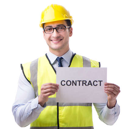 Construction supervisor with contract isolated on white background Foto de archivo