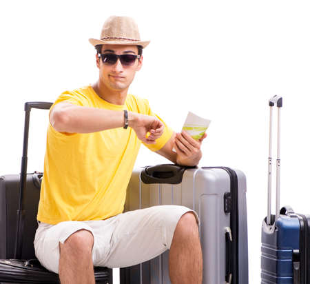 Happy young man going on summer vacation isolated on white Stok Fotoğraf