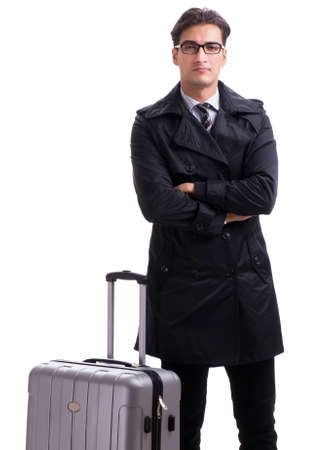 The young businessman with suitcase ready for business trip