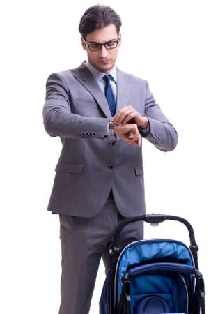 The young dad businessman with baby pram isolated on white Imagens
