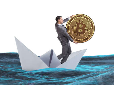 The businessman rowing on dollar boat in business financial concept
