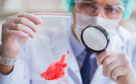 Forensics investigator working in lab on crime evidence