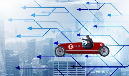 Businessman driving sports car choosing different career paths