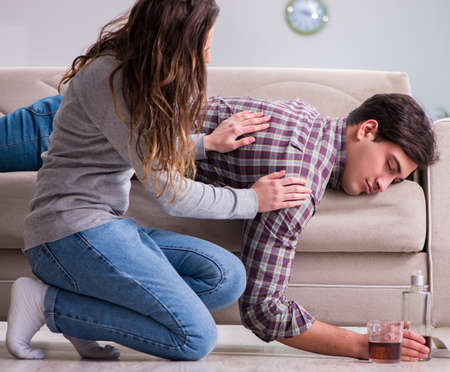 Drinking problem drunk husband man in a young family concept