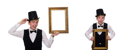 Guy with photo frame isolated on white Stok Fotoğraf