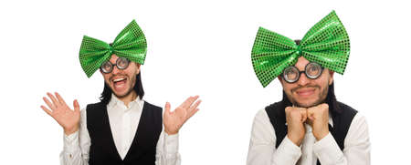 Man with big green bow tie in funny concept 写真素材
