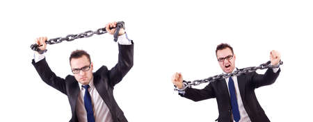 Businessman with chain isolated on the white Stock Photo