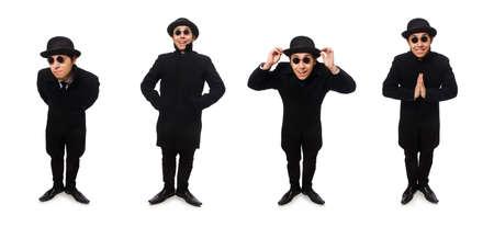 Man wearing black coat isolated on white Banco de Imagens