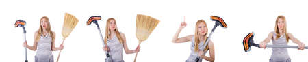 Woman doing housekeeping stuff at home 写真素材