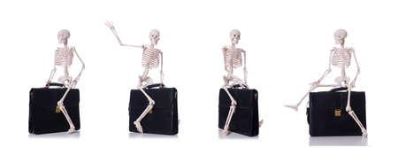 Skeleton with suitcase isolated on white