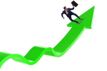Businessman riding skateboard on financial graph 版權商用圖片 - 131841423