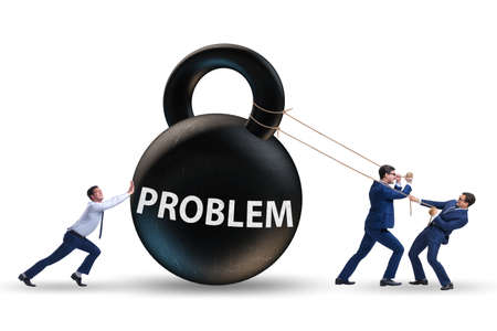 Businessmen trying to deal with difficult problem Фото со стока