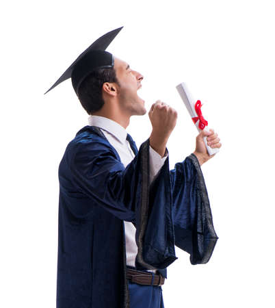 Student excited at his graduation isolated on white
